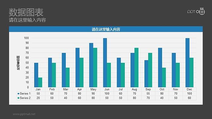 以月份为单位的清新蓝绿色条形图动态PPT图表_幻灯片预览图2