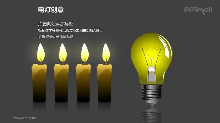 电灯创意—电灯+四个并列蜡烛对比关系PPT图形_幻灯片预览图2