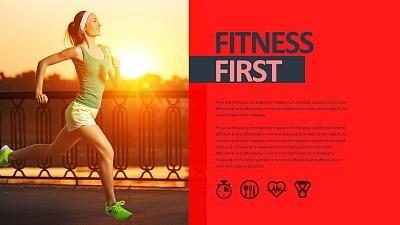 健康生活运动PPT模板板式素材下载
