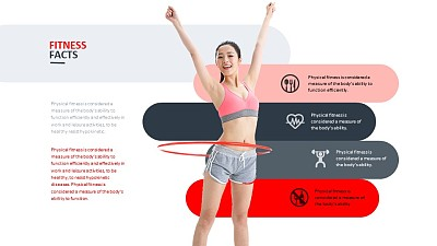 女子健身呼啦圈PPT模板下载