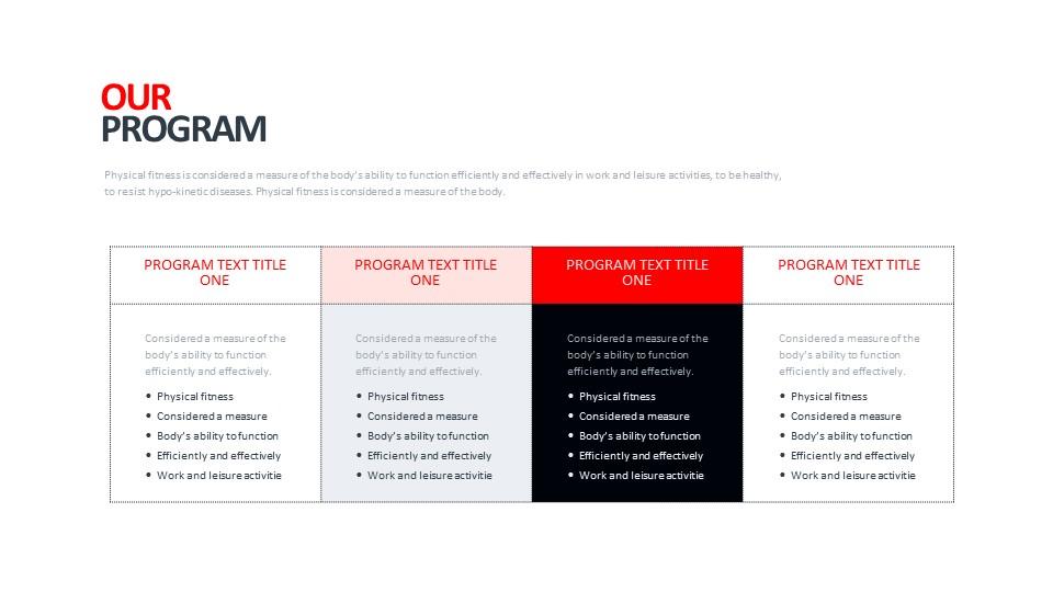 常规4列表格排版PPT模板_幻灯片预览图1
