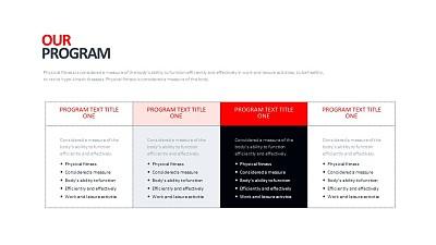 常规4列表格排版PPT模板