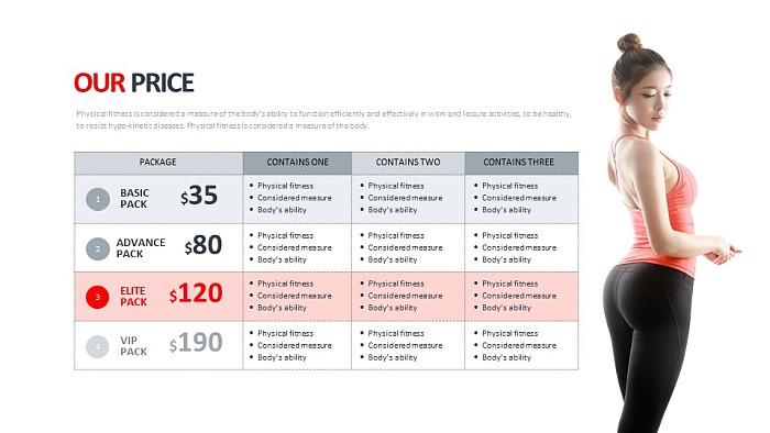 健身会员VIP价格表PPT模板_幻灯片预览图1