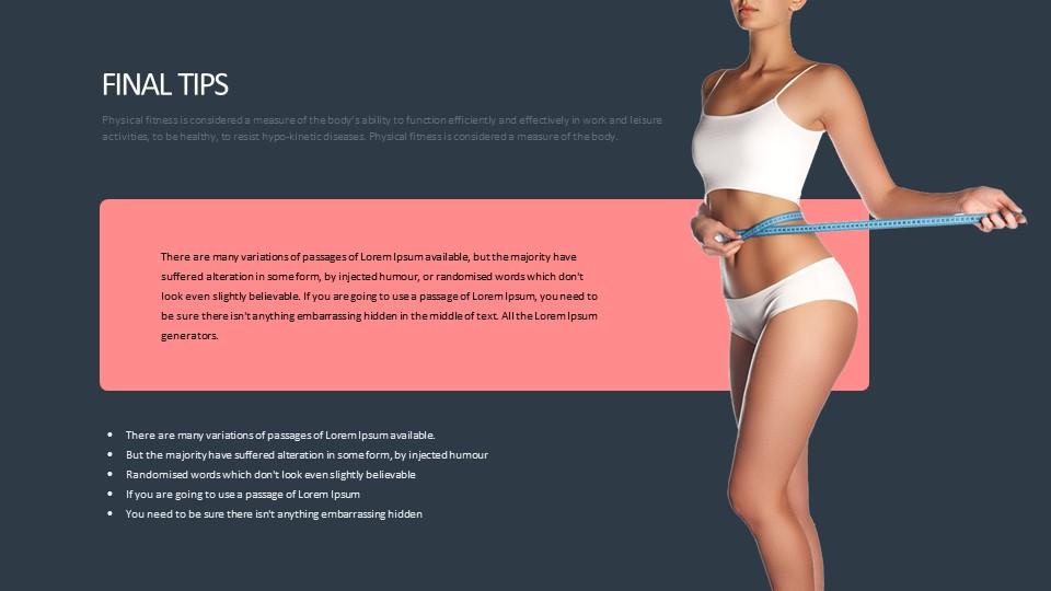 量腰围的美女人体运动健康主题PPT版式下载