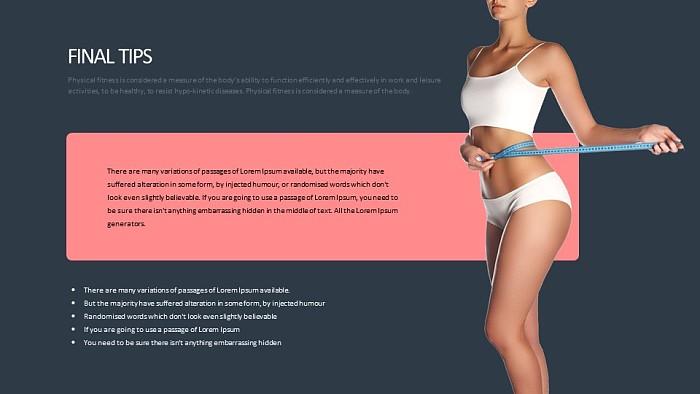 量腰围的美女人体运动健康主题PPT版式下载_幻灯片预览图2