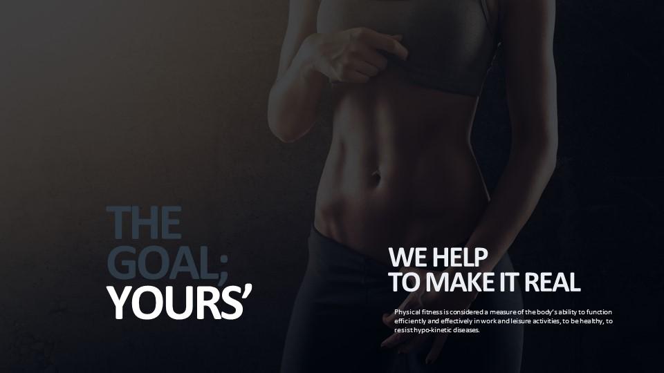 展示腹肌的美女健身主题PPT版式下载