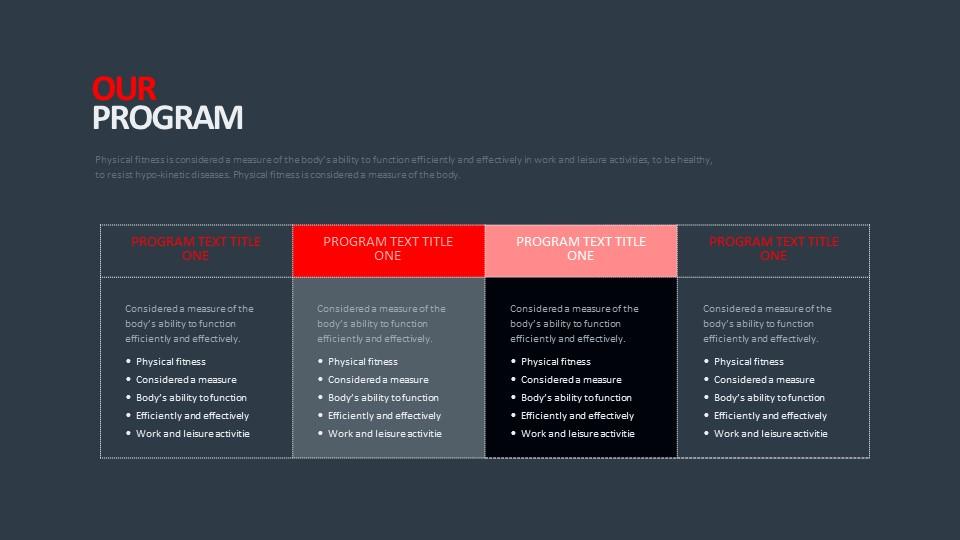 常规4列表格排版PPT模板_幻灯片预览图2