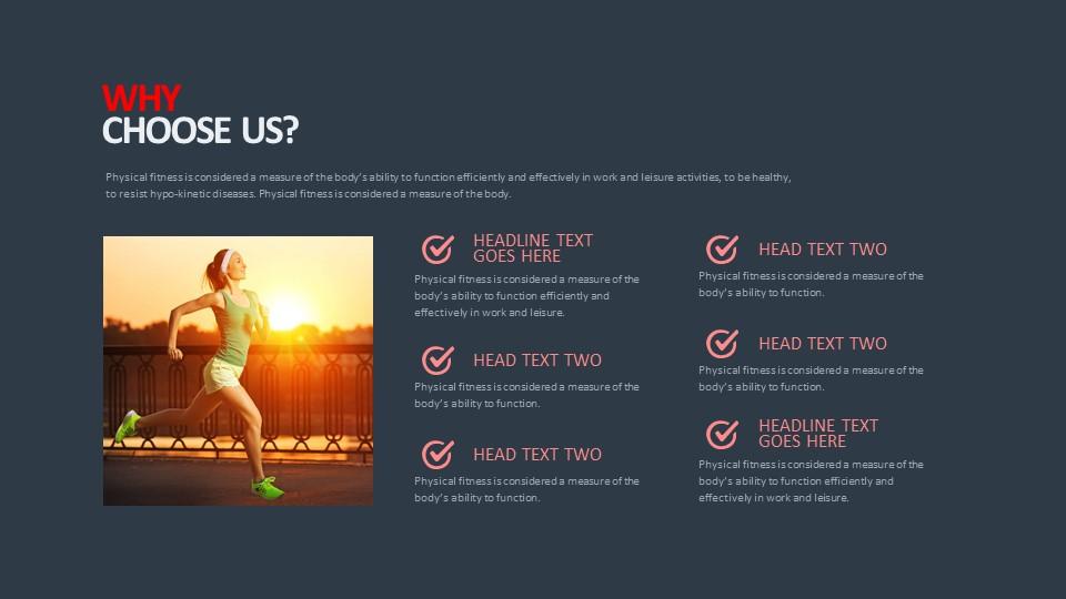 跑步健身主题6部分图文讲解PPT版式下载