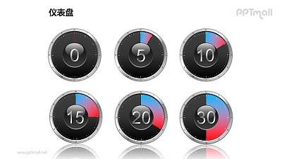 一组(共6个)可以调整角度的时钟/仪表盘PPT模板素材