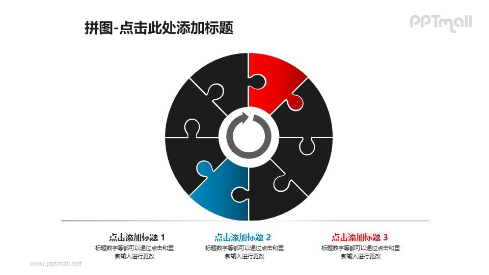拼图样式的同心圆循环图PPT模板素材