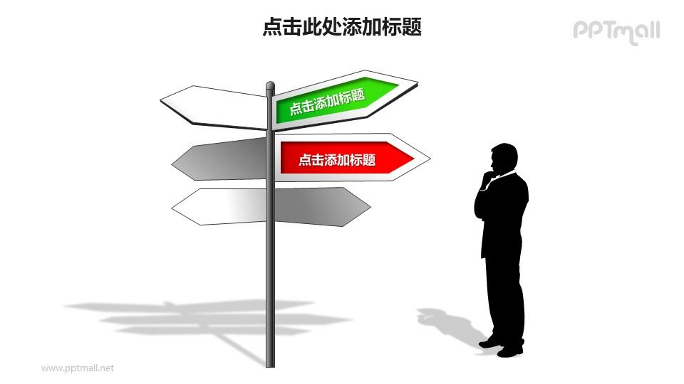 战略方向——在路标旁的思考者PPT模板素材