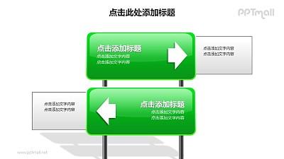 战略方向——纵向排列的战略方向分析PPT图形素材