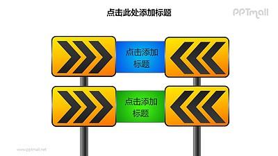 战略方向——两个上下排列的减速路标样式PPT图形素材