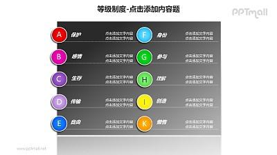 等级制度——字母标签列表式文本框PPT模板素材