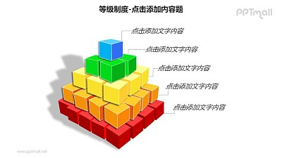 等级制度——五层积木样式的层级关系列表PPT模板素材
