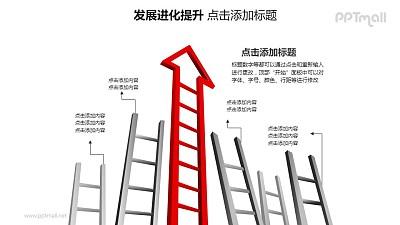 发展进化提升——1+5横向排列的梯子PPT图形素材