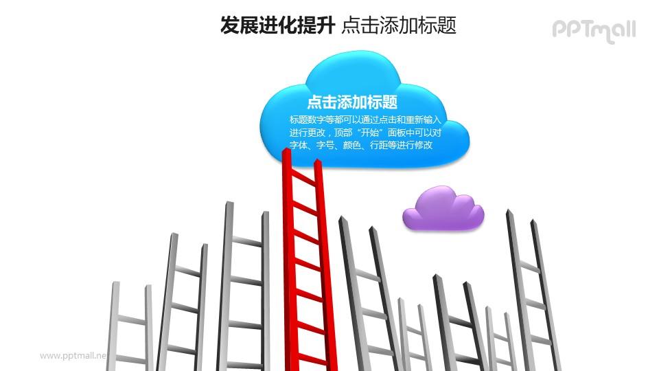 发展进化提升——横向排列的梯子+云朵形状的文本框PPT图形素材