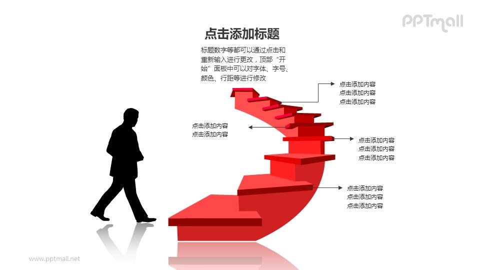 发展进化提升——准备走上红色楼梯的商务人士PPT图形素材