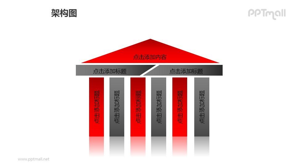 架构图——有多根(6根)柱子的亭子样式的建筑PPT图形素材