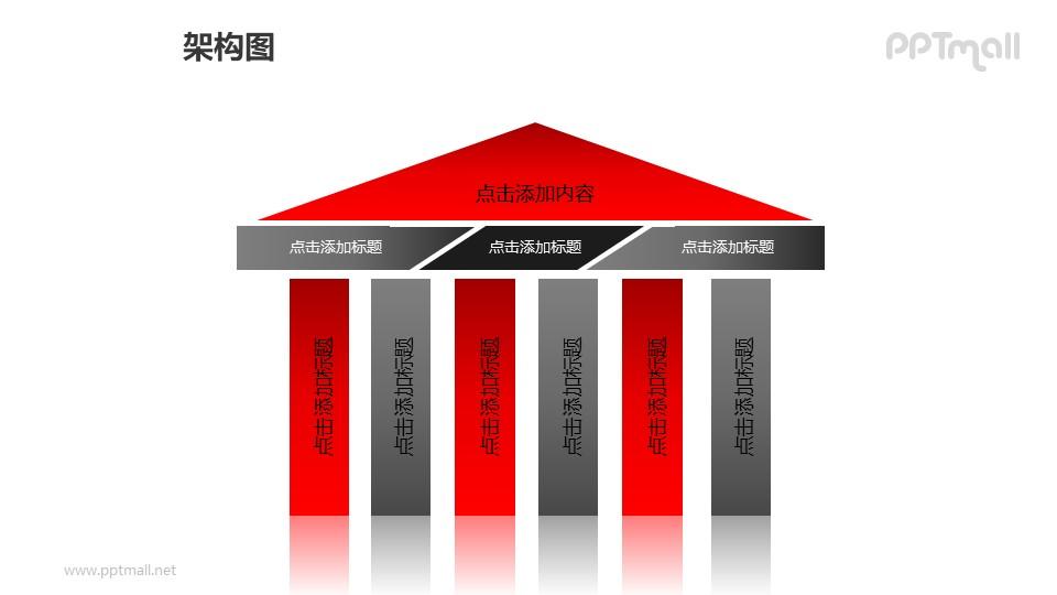 架构图——多种几何图形组成的亭子样式的建筑PPT图形素材