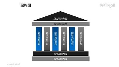 架构图——有两级台阶的几何图形建筑物PPT图形素材