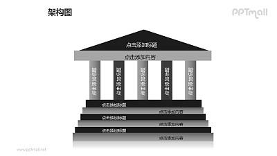 架构图——有多级台阶的几何图形建筑物PPT图形素材下载