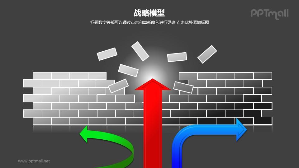 战略模型——箭头穿过破裂的墙体图形PPT素材下载