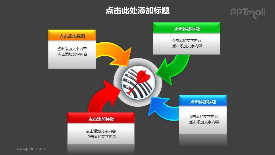 战略方向——汇聚关系图PPT图形素材