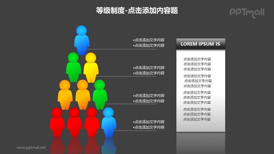 等级制度——五层次人物图形组成的等级关系PPT图形素材