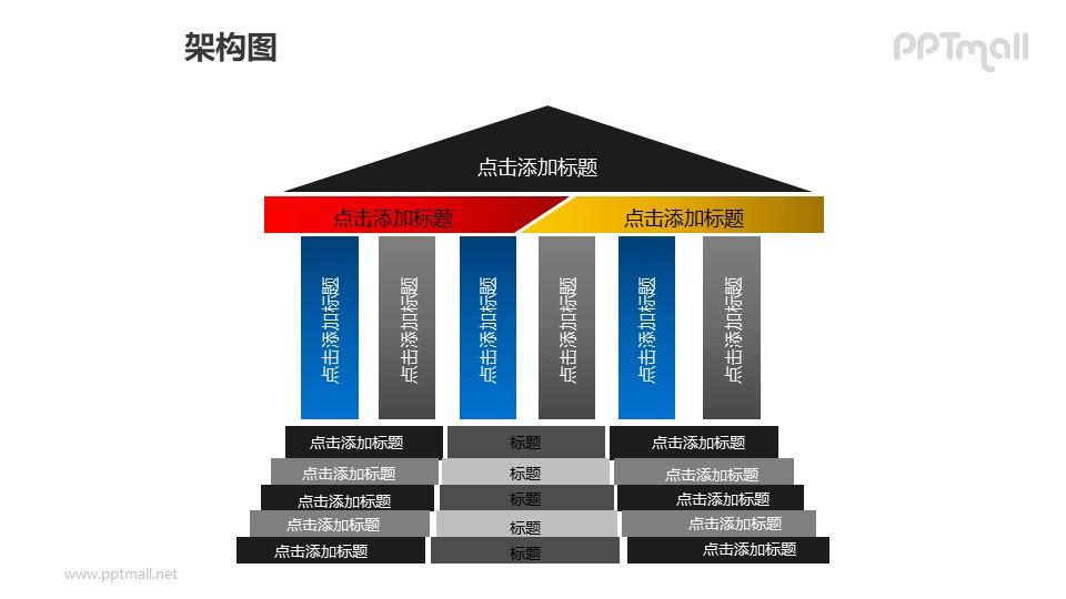 架构图——三部分并列关系的几何图形建筑物PPT图形素材