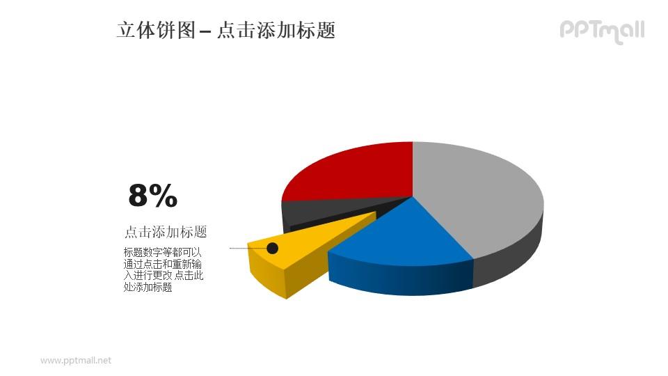 立体饼图——黄色部分分离的5部分饼状图PPT模板素材