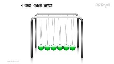 牛顿摆——6个绿色小球PPT图形素材