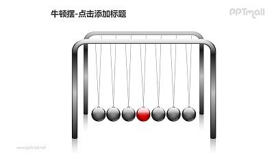 牛顿摆——1+6个红色小球PPT图形素材