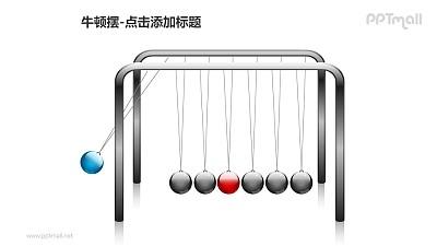 牛顿摆——摆动的蓝色小球PPT图形素材