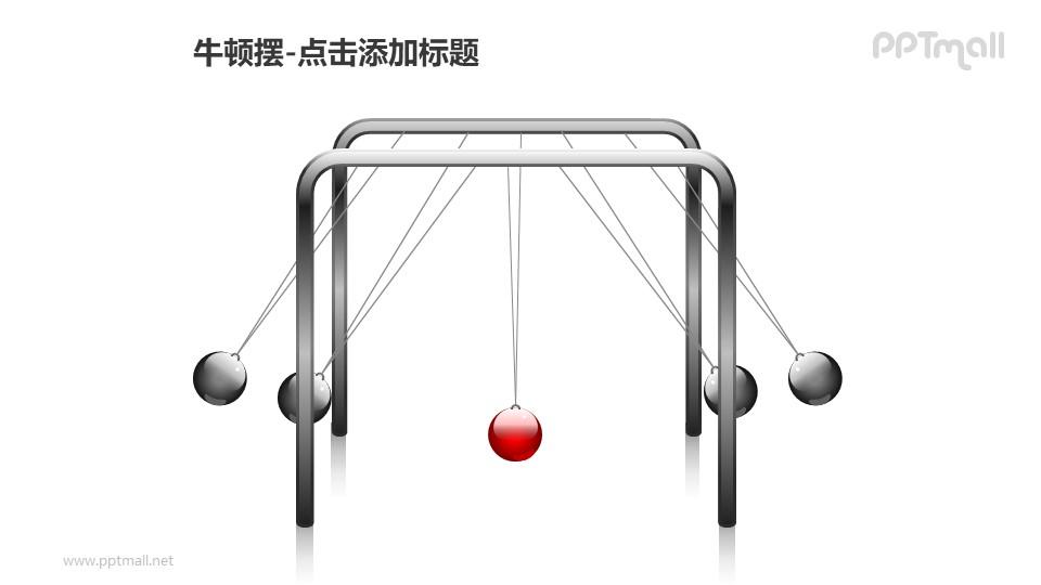 牛顿摆——1+4摆动的小球PPT图形素材
