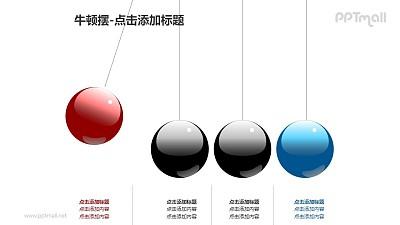牛顿摆——4个小球+文本框PPT图形素材