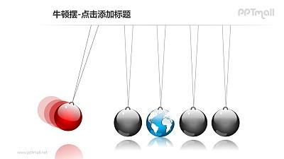 牛顿摆——1+4地球形状的小球PPT图形素材