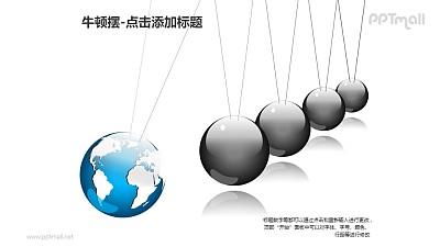 牛顿摆——1+4地球形状并列的小球PPT图形素材