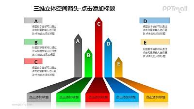 三维立体空间箭头——5个彩色条纹箭头PPT模板素材