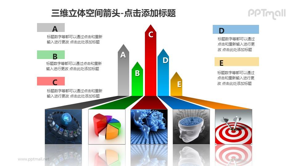 三维立体空间箭头——5个彩色条纹箭头+图片PPT模板素材