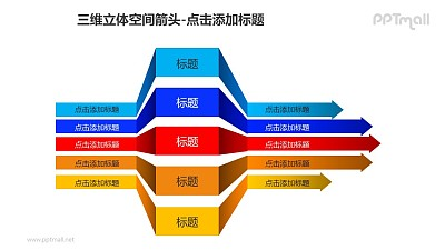 三维立体空间箭头——5个彩色的三段折叠箭头PPT模板素材