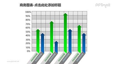 商务图表——蓝绿对比箭头样式的簇状柱形图PPT模板素材