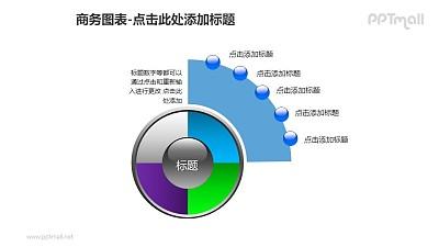 商务图表——蓝色扇形图+4部分饼状图PPT图形素材