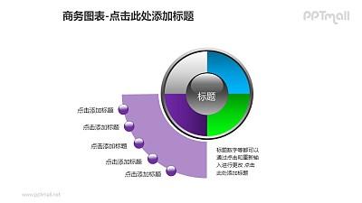 商务图表——紫色扇形图+4部分饼状图PPT图形素材