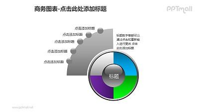 商务图表——灰色扇形图+4部分饼状图PPT图形素材