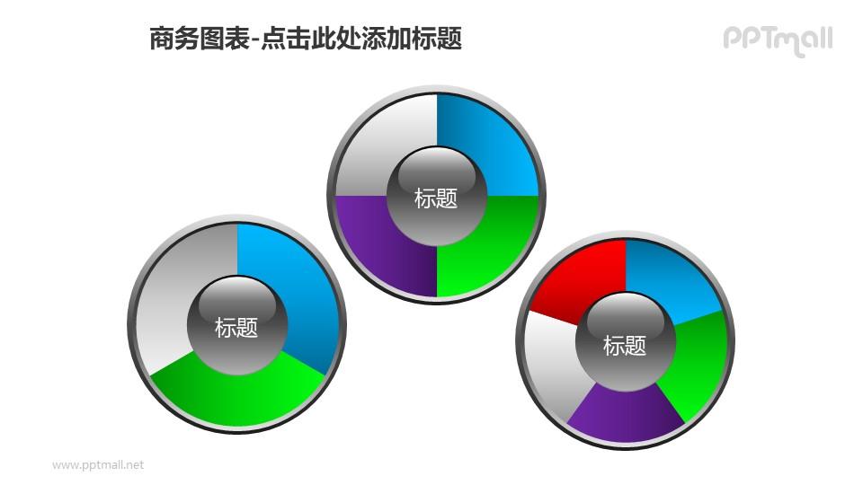 商务图表——仪表盘样式递进关系饼状图PPT图形素材