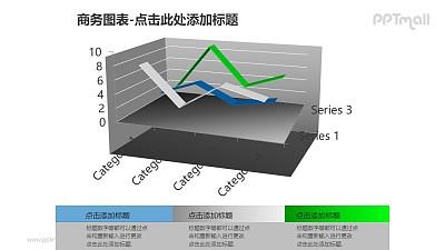 商务图表——三维折线图+文本框PPT图形素材