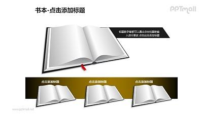 书本——1+3并列的书本PPT图形模板
