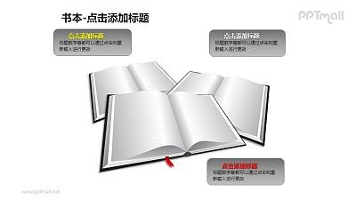书本——3本叠在一起的书PPT图形模板