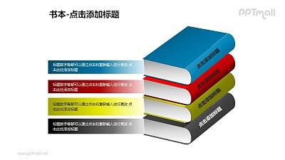 书本——4本堆积的书PPT图形模板